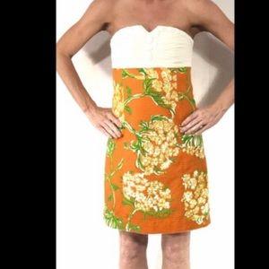 Lilly Pulitzer Orange White Strapless Dress
